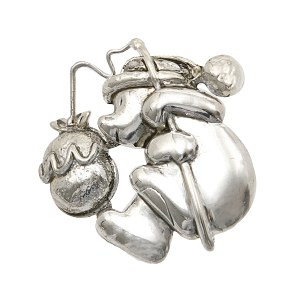 Dog with Knapsack Silver Pendant/ Pin