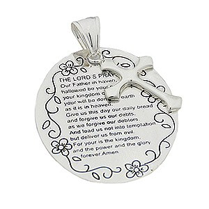 Religious Pendant with Lord's Prayer Silver