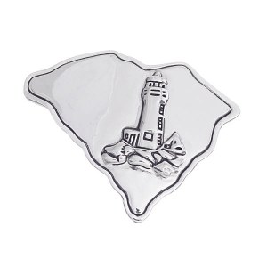 Lighthouse Accent South Carolina State Pendant/Pin Silver