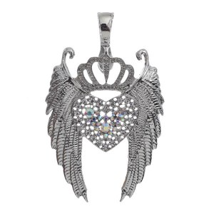 Winged Crown Heart Magnetic Pendant AB