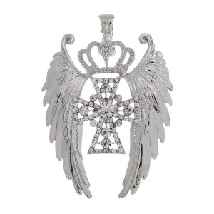 Winged Crown Cross Magnetic Pendant