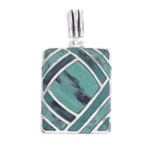 Overlapping Lines Square Shell Pendant Green Turquoise
