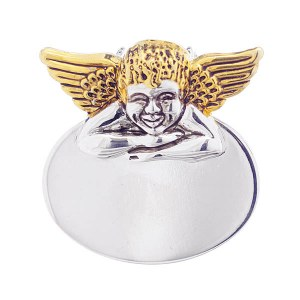 Angel Oval Plate Pendant / Pin Two Tone