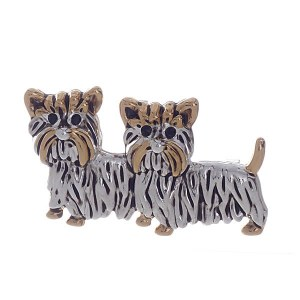 Terrier Dogs Pendant / Pin Two Tone