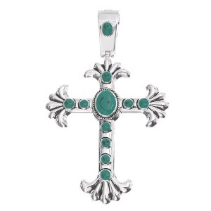 Turquoise Enamel Cross Pendant