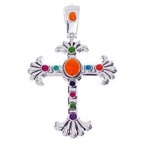 Light Multi Color Enamel Cross Pendant