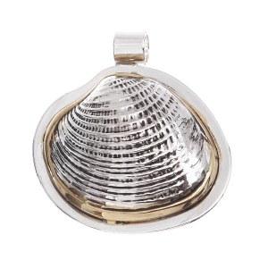 Textured Seashell Pendant/ Pin Two Tone