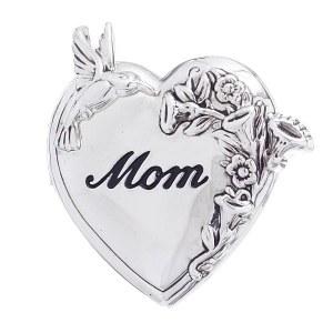 'Mom' Heart Locket Pendant/Pin