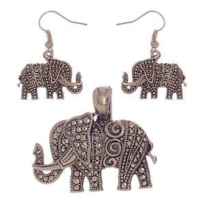 Elephant Gold Pendant Set