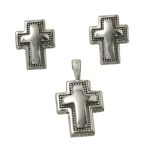 Cross with Dotted Border Pendant Set