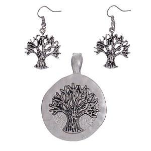 Tree of Life Pendant Set Silver