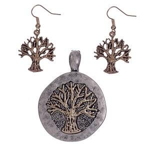 Tree of Life Pendant Set Two Tone