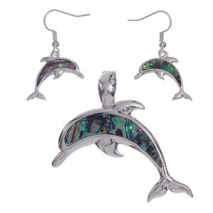 Dolphin Pendant Set Abalone Shell