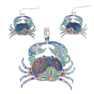Crab Pendant & Earring Set Blue