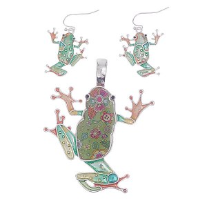 Frog Pendant & Earring Set
