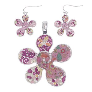 Flower Pendant & Earring Set
