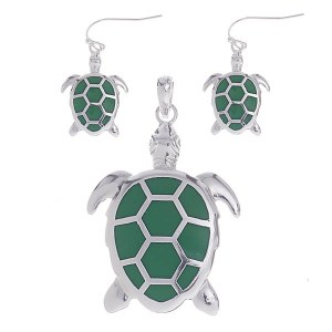 Turtle Pendant & Earring Set Green