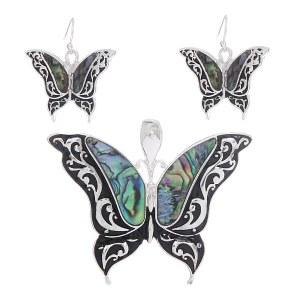 Abalone Shell Butterfly Pendant Set