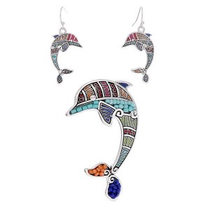 Seed Bead Dolphin Pendant Set