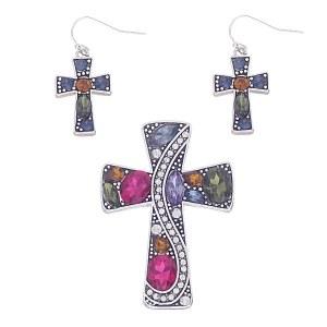 Bejeweled Cross Pendant Set Multi
