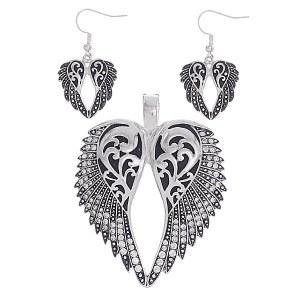 Angel Wings Silver Pendant Set