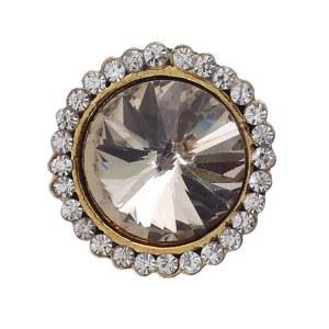 Crystal Center Round Statement Ring Gold