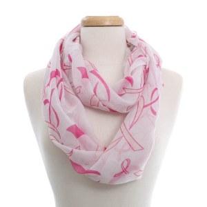 Pink Ribbon Print Eternity Scarf White