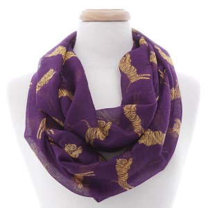 Tiger Infinity Scarf Purple/Gold