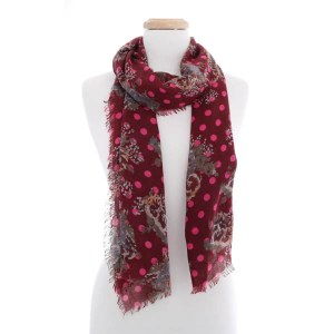 Floral Polka Dot Scarf Red