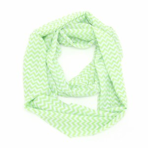 Chevron Stripes Chiffon Eternity Scarf Lime