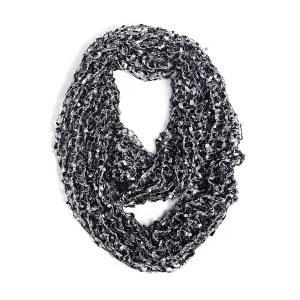 Open Knit Confetti Scarf Black/ Grey