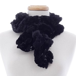 Sequined Faux Fur Neck Warmer Black