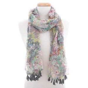 Floral Tassel Scarf Gray
