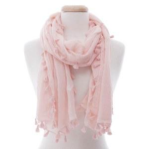 Tassel Wrap Scarf Pink