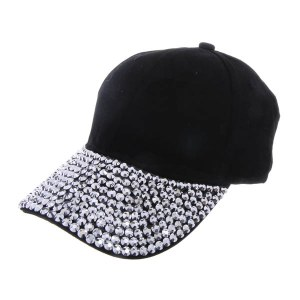 Rhinestone Studded Brim Baseball Cap Black