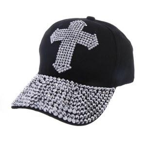 Rhinestone Studded Cross Baseball Cap Black