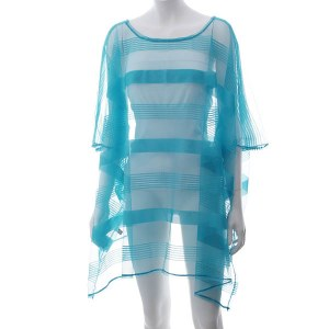Striped Mesh Cover Up Blue