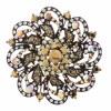 Swirling Flower Metallic Brown Pin
