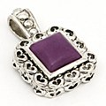 SQUARE STONE PENDANT PURPLE
