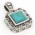 SQUARE STONE PENDANT GREEN TURQUOISE