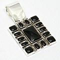 Block Black Silver Pendant