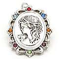 Silver Cameo with Multi Crystals