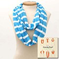 Striped Skinny Eternity Scarf Blue