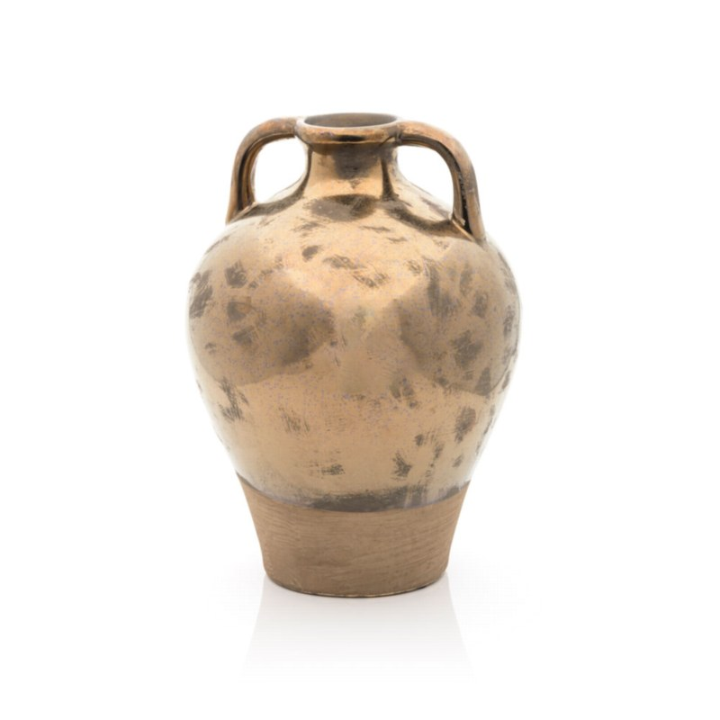 Ceramic Gold Vase with Handles