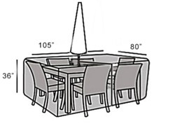 Protective Cover - Large Rectangular Table & Chairs Set