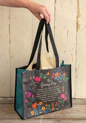 Giving Bag Wreath Floral Black
