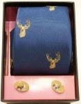 Silk Tie & Cufflink Set Stag