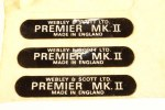 Webley Premier Mk2 Label  Part No.  PREM2LABEL