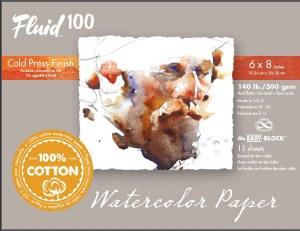 Global  Fluid 100 Cold Press Block 4x6 140 lb. 15 Sheets