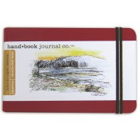 Hand Book Travelogue Journal Landscape Vermillion Red 3.5x5.5